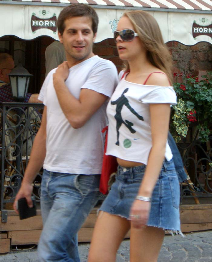 A white off-the-shoulder shirt, Vilnius Old Town, September of 2005