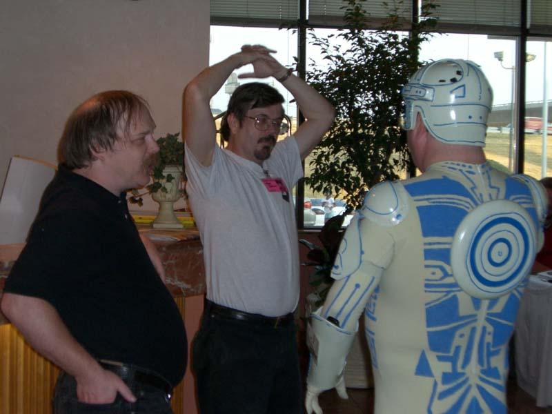 Eric Raymond, Steve Jackson, and Jay Maynard aka The Tron Guy at Linucon 2005