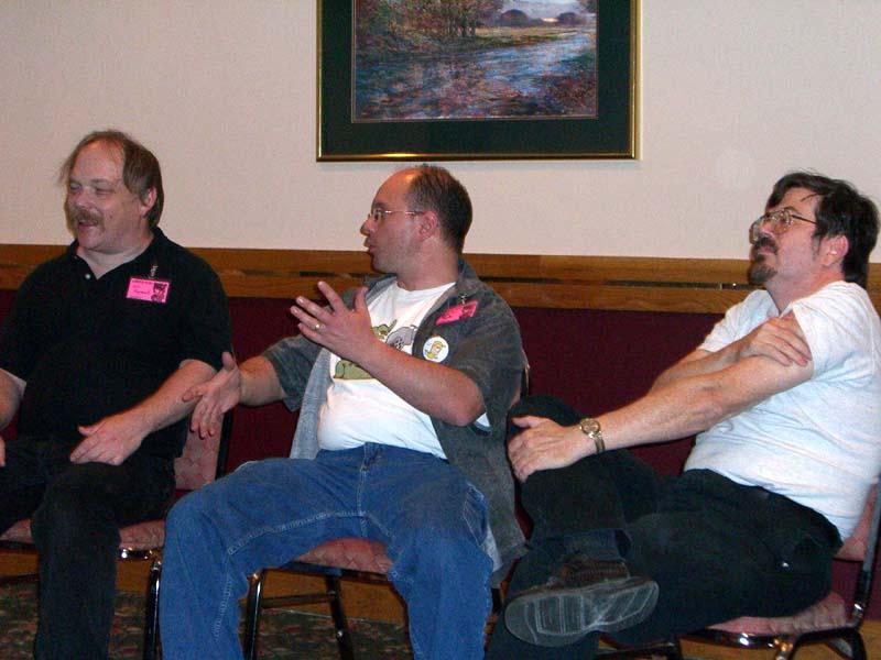 Eric Raymond, Howard Tayler, and Steve Jackson at Linucon 2005