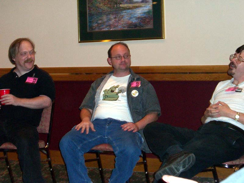 Eric Raymond, Howard Tayler, and Steve Jackson at Linucon 2005