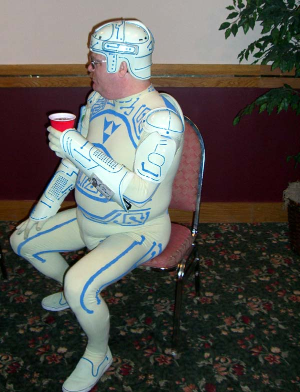 The Tron Guy at the Adventures in Costuming panel at Linucon 2005