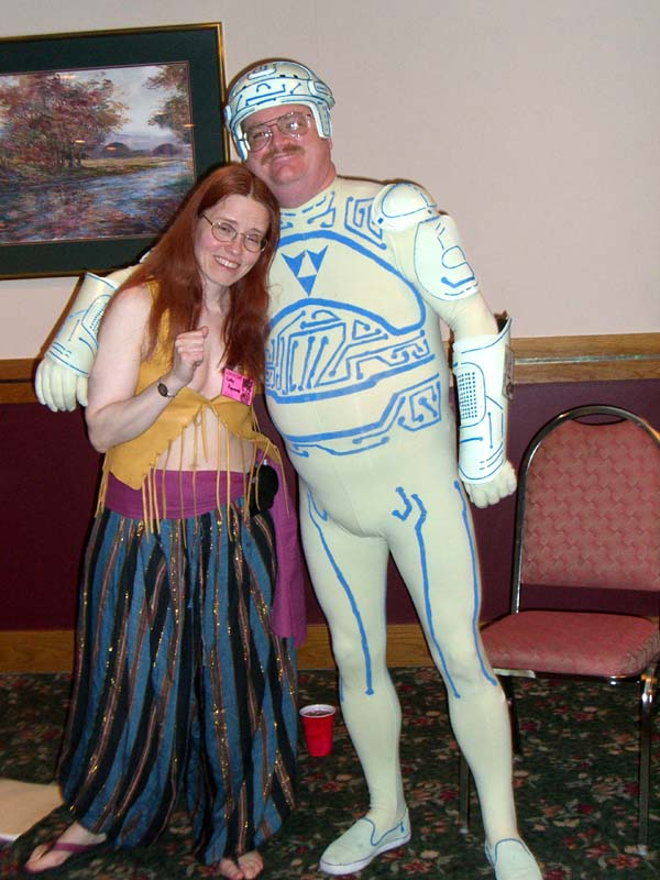 "The Tron Guy and Cathy Raymond at the ""Adventures in Costuming"" panel."