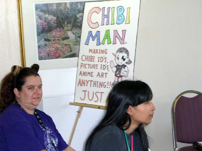 Chibi Man in the Artists Alley at Linucon 2005