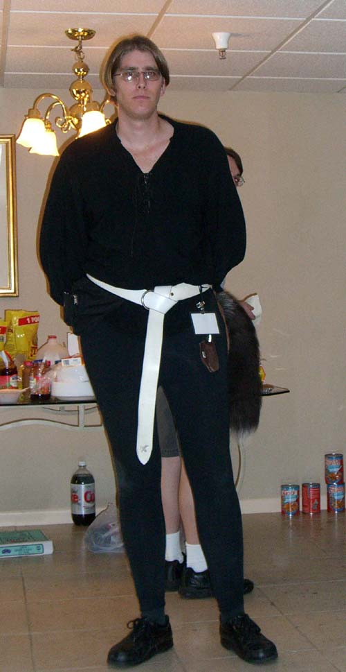 A costumer with a fox tail at Linucon 2005