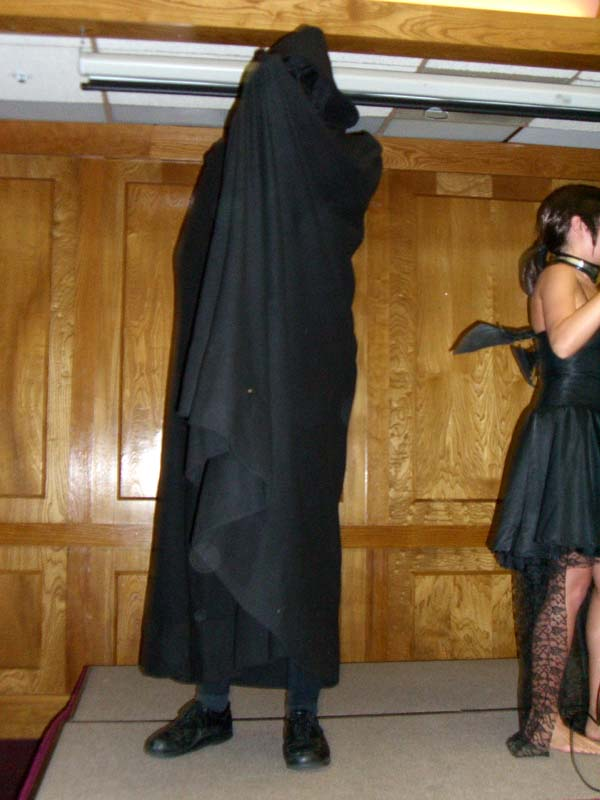 Death / Nazgul costume, and Anne (the hostess of cosplay) at Linucon 2005