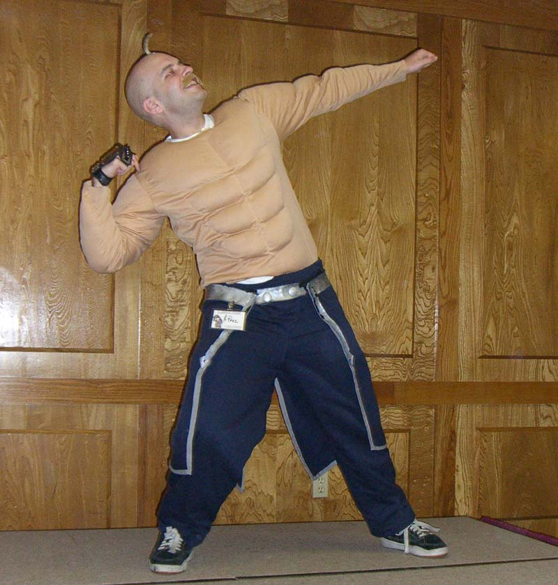 Proz in a costume with six-pack abs at Linucon 2005