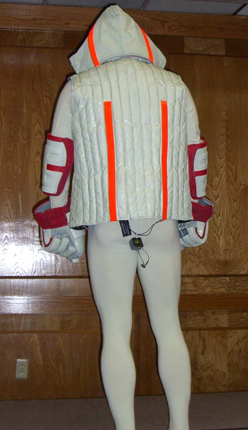 The back of The Tron Guy's costume -- the guard program from Tron -- at Linucon 2005