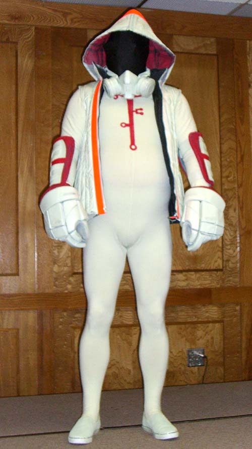 The Tron Guy presents his costume at cosplay at Linucon 2005