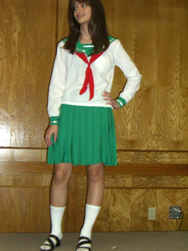 A costume in green nautical motifs at Linucon 2005