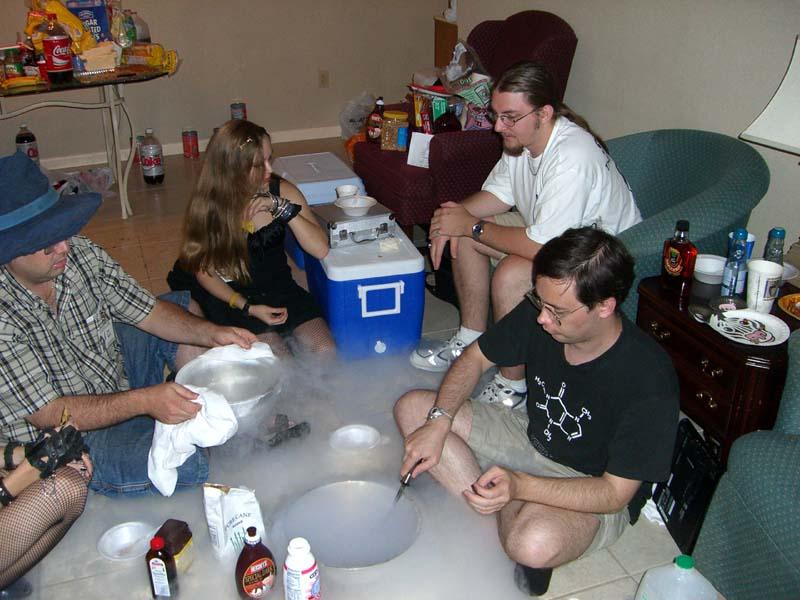 Making ice cream with liquid nitrogen at Linucon 2005