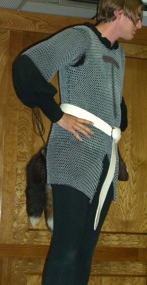 A cosplayer in chain mail and fox tails at Linucon 2005