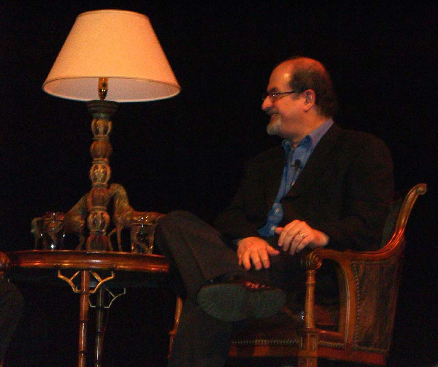 Salman Rushdie being interviewed at the Texas Book Festival in 2005