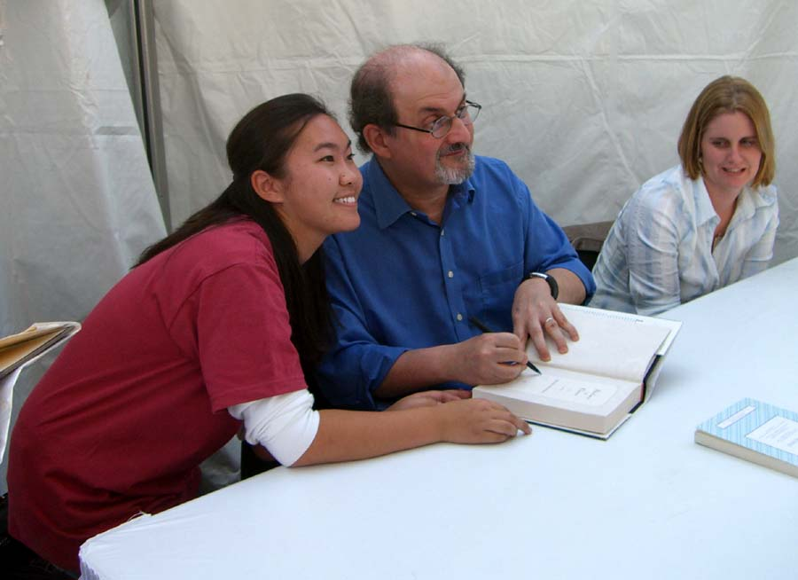 Salman Rushdie signing books at Texas Book Festival in 2005