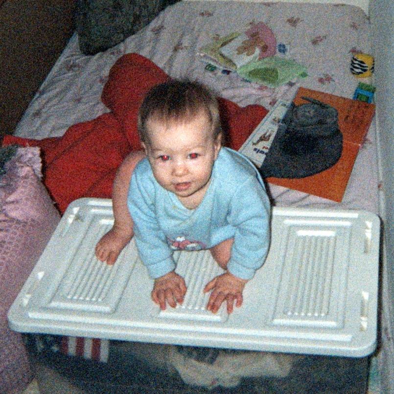 E climbs on a box, February 2006