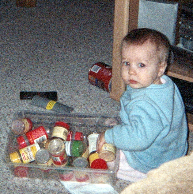 Organizing spices at grandma house, February 2006