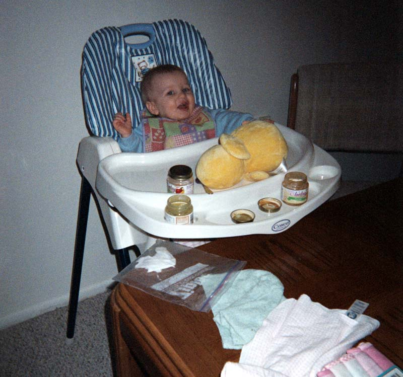 In a high chair, February 2006