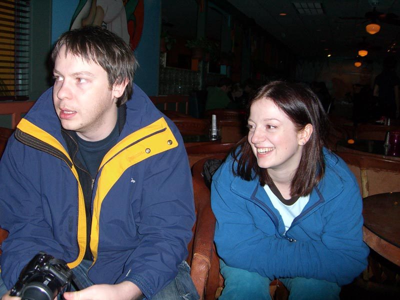 My sister M and her partner P, December 2005