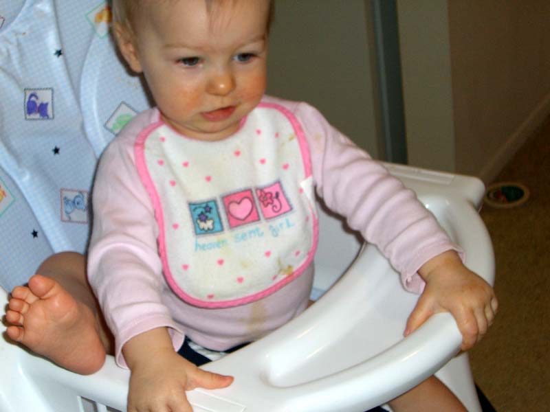 In high chair, March 2006