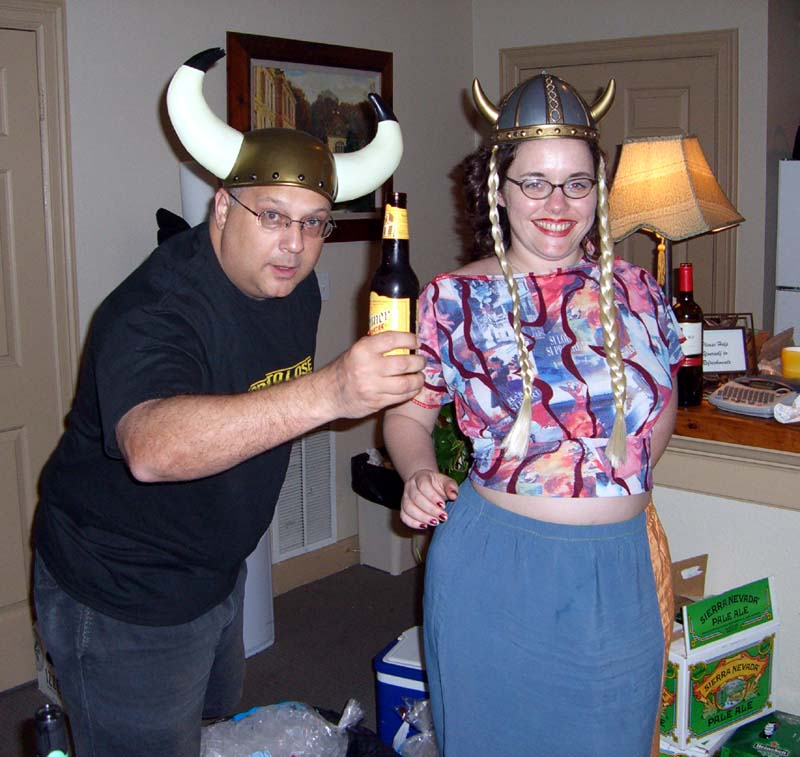Two people in horned helmets