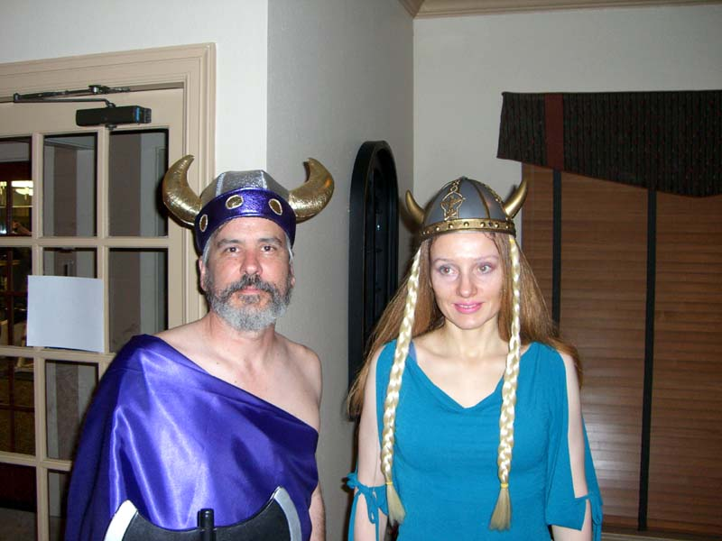 The groom, P, and me in a viking helmet with braids