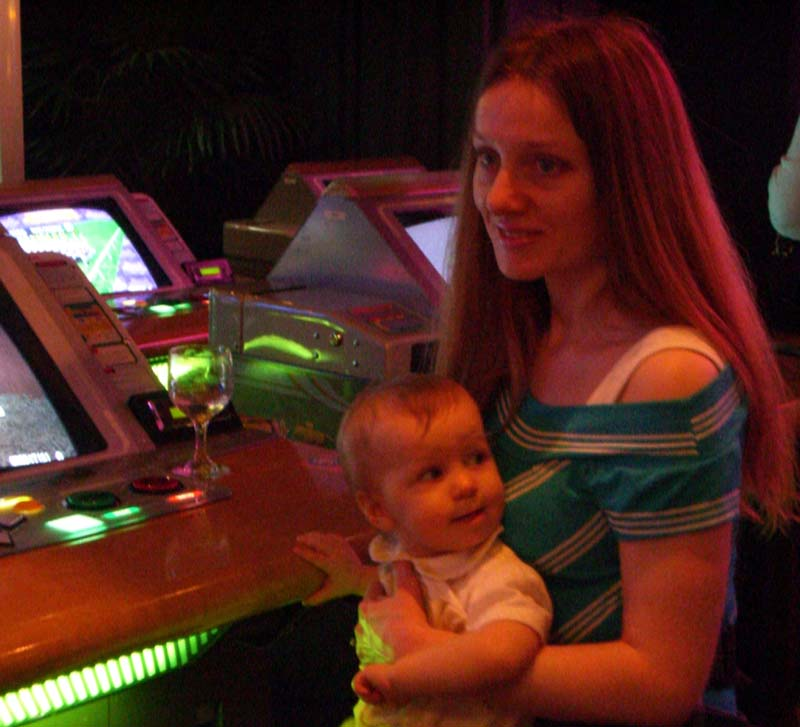Me with E at Dave and Busters, April 2006