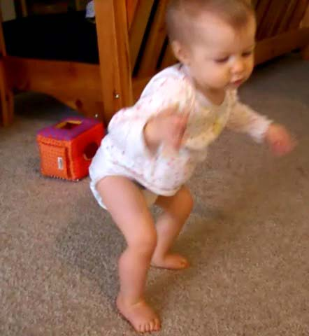 11-month-old trying to stand up, April 2006