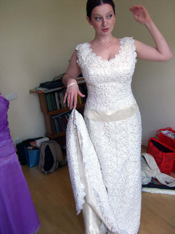 M in her bridal dress, getting ready