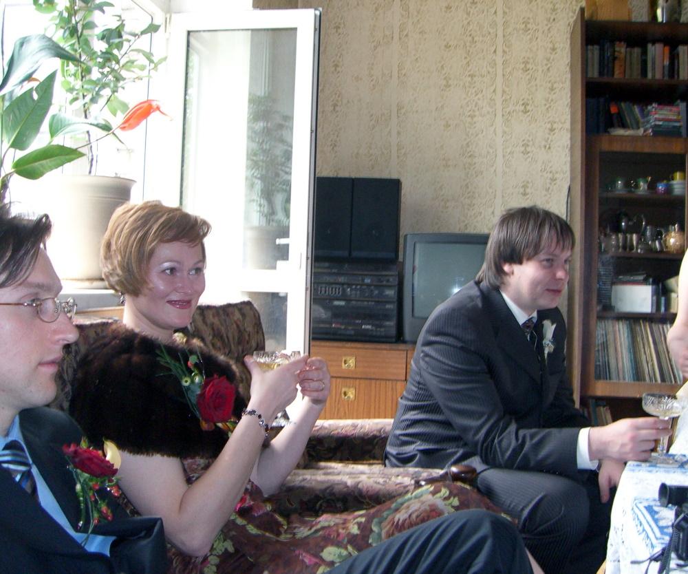 CIMG2348 E, E and P having a pre-wedding champagne toast