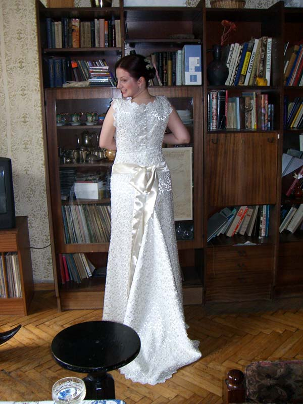 My sister M in her wedding dress, from the back