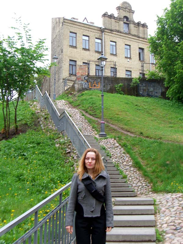 Me at the bottom of the stairs in Uzupis