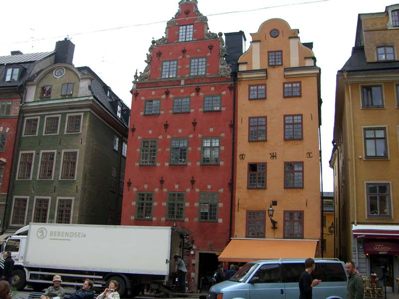Colorful buildings in Stockholm Old Town