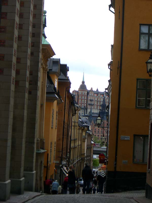 A sloping street in Stockholm Old Town