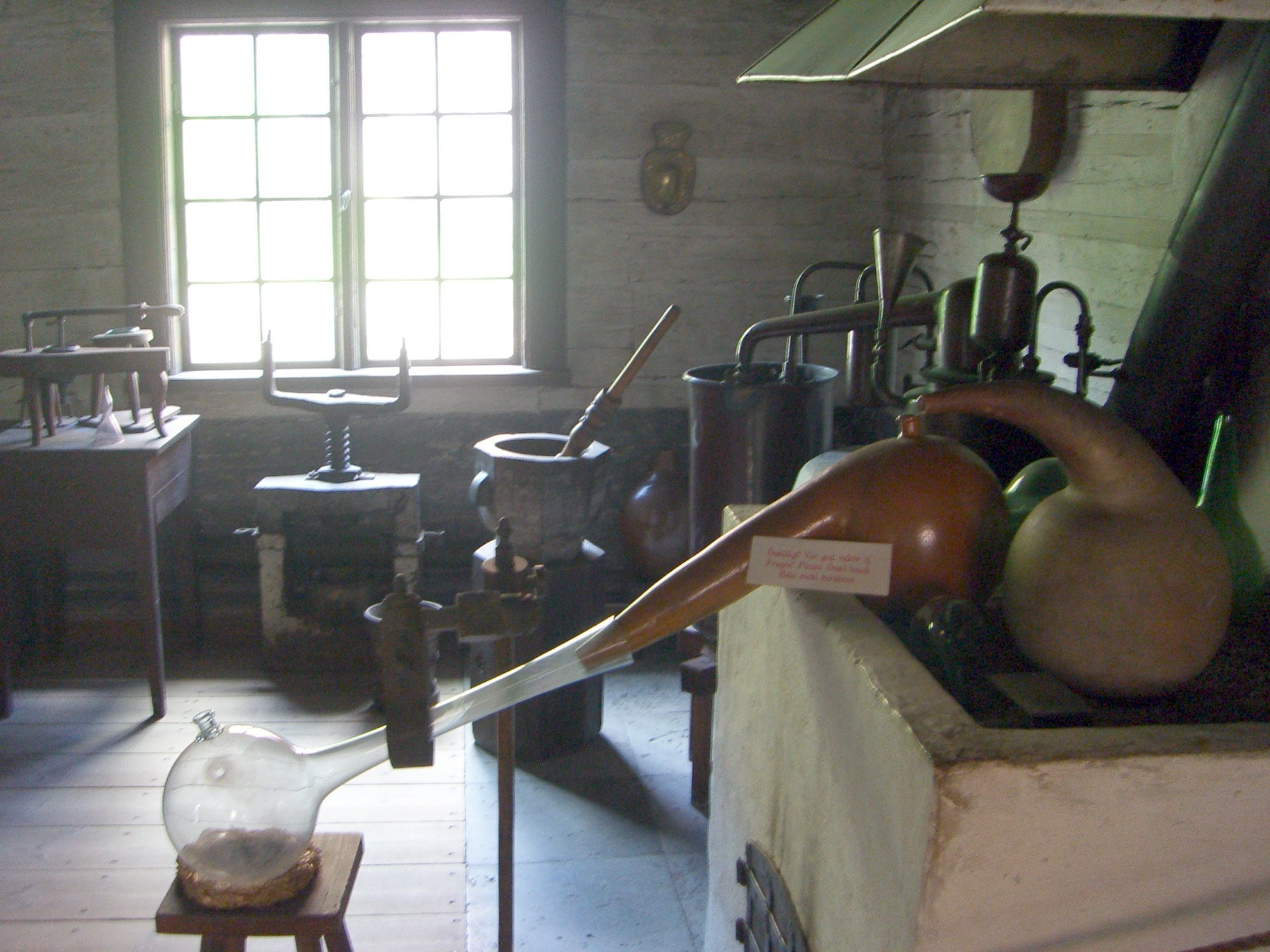 Old-time pharmacy / lab equipment in Skansen