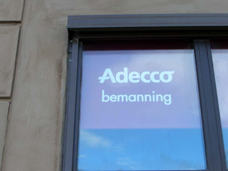 Adecco Bemanning, a sign in Stockholm