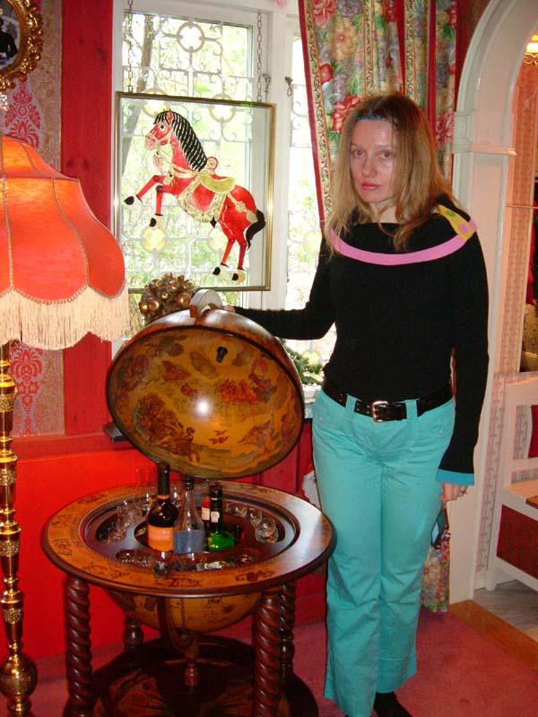 A bar inside an antique globe