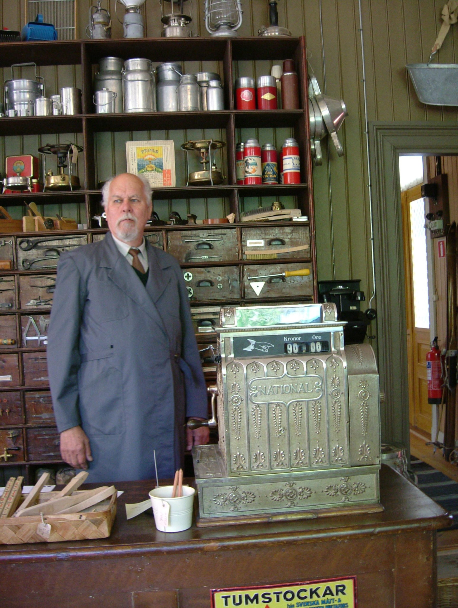 Old-time pharmacy checkout counter at Skansen