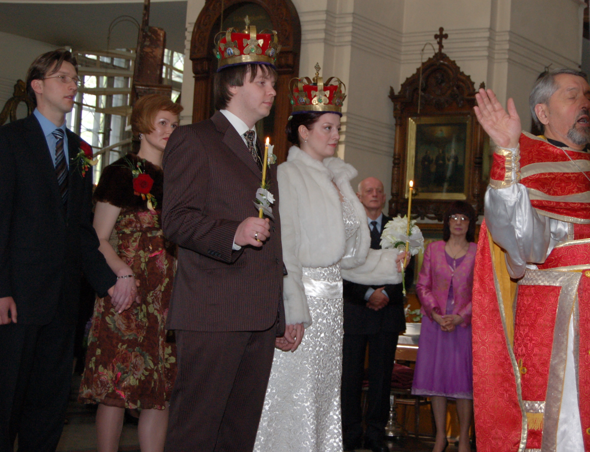 The bride and groom have been crowned