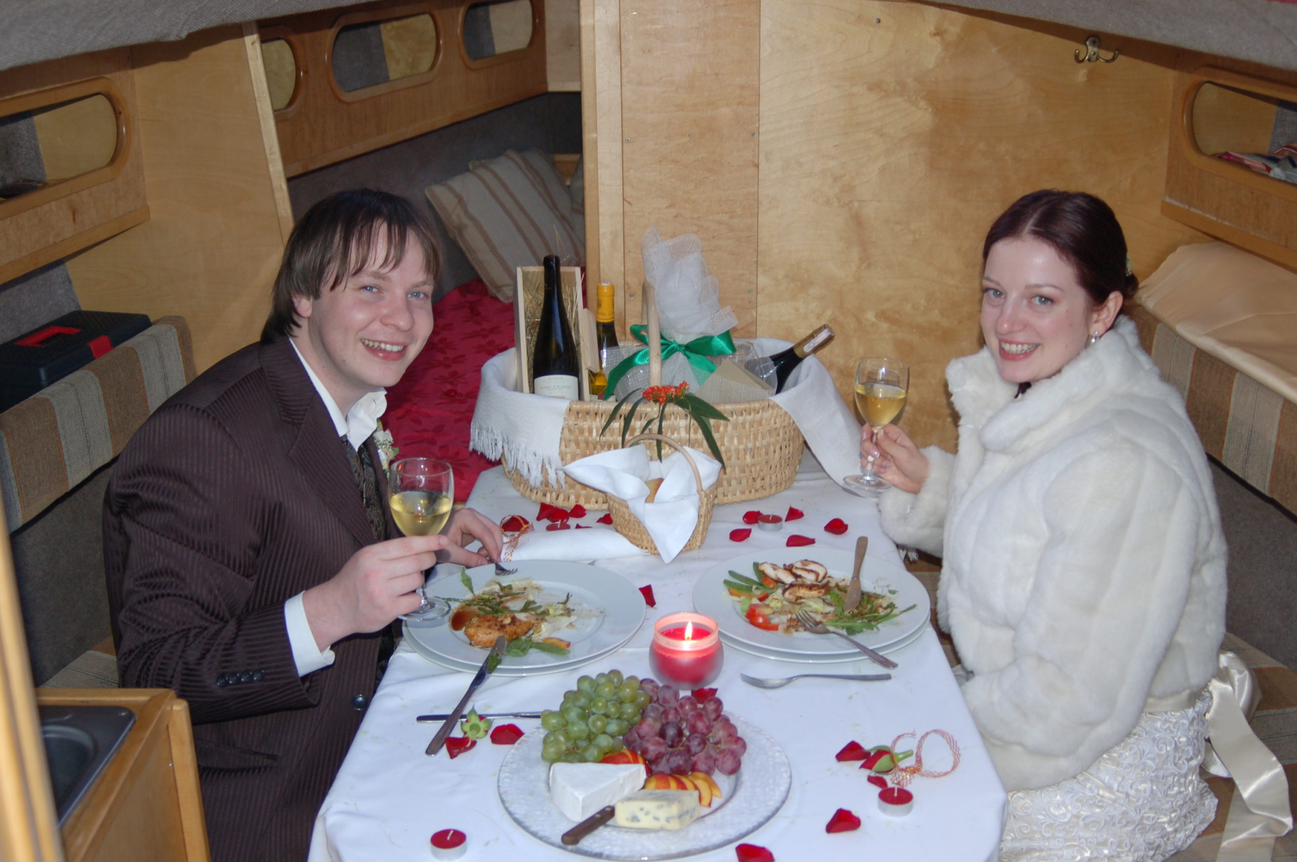 A wedding dinner on a boat