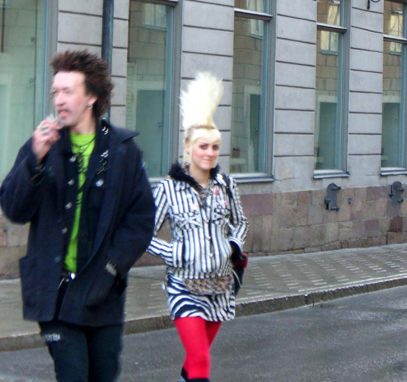 A very tall, narrow mohawk seen on the street in Stockholm