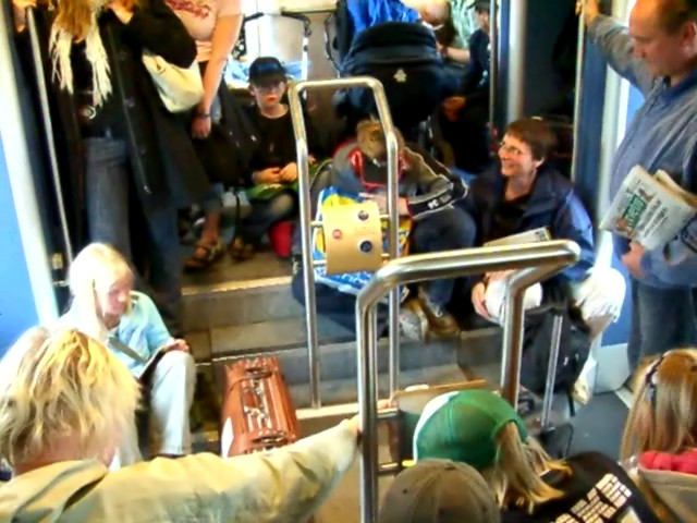 A round lift in a train car in Sweden