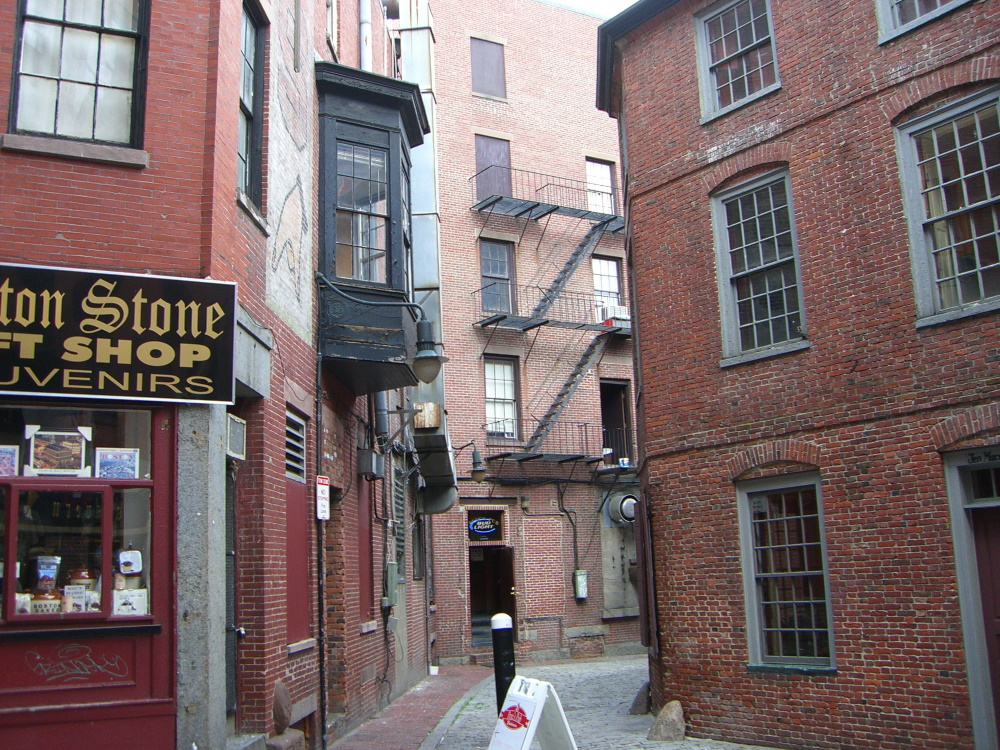 Street corner with Boston Stone Gift Shop