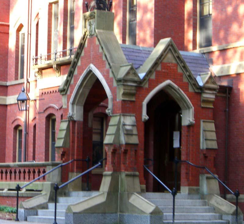 Matthews Hall porch in Harvard Yard