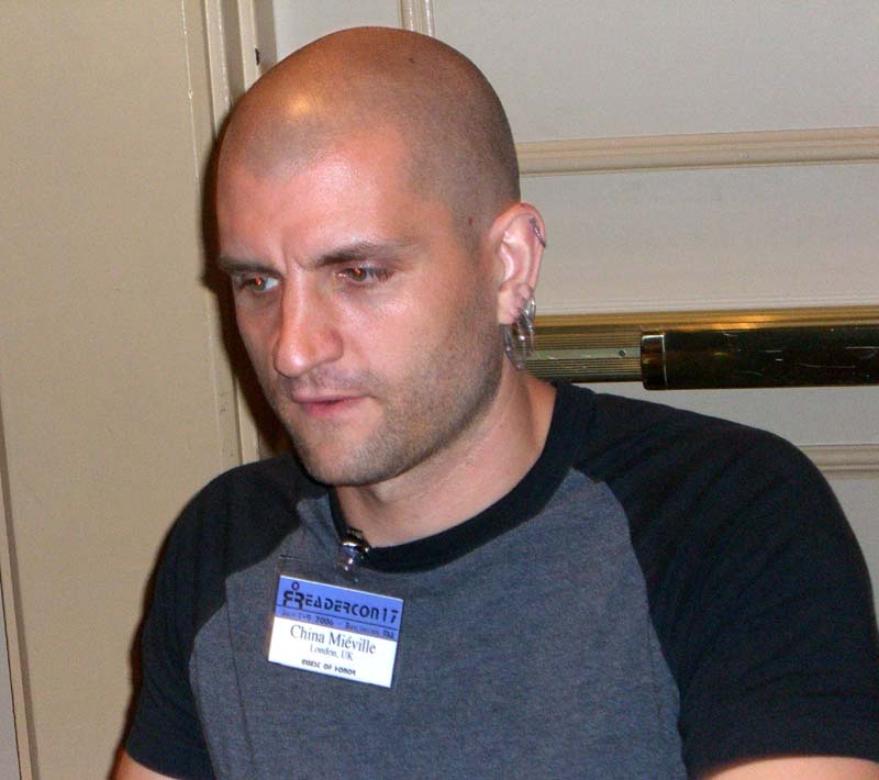 China Mieville signs books at Readercon in July of 2006