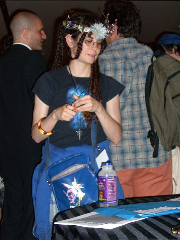 A young con-goer in a flower wreath at Readercon 2006
