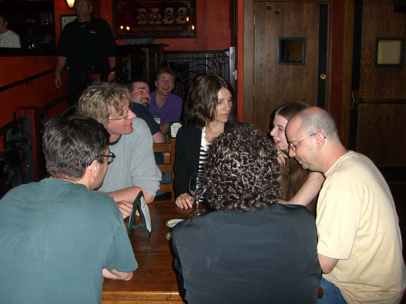 Writers and editors in the hotel bar at Readercon 2006