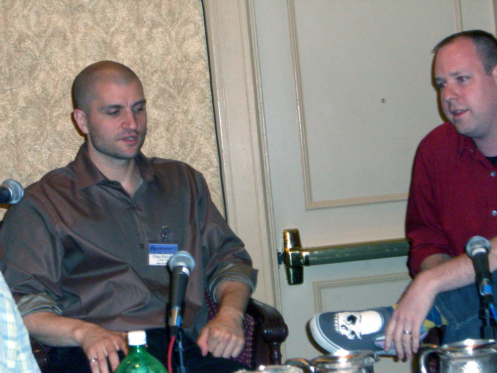 China Mieville (left) being interviewed by Adam Golaski at Readercon 2006