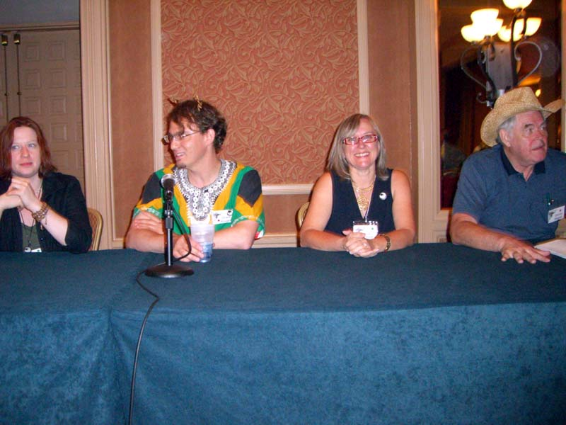 Diana Gill, Grant Kruger, Julie Czerneda, James P. Hogan at the ArmadilloCon 2006