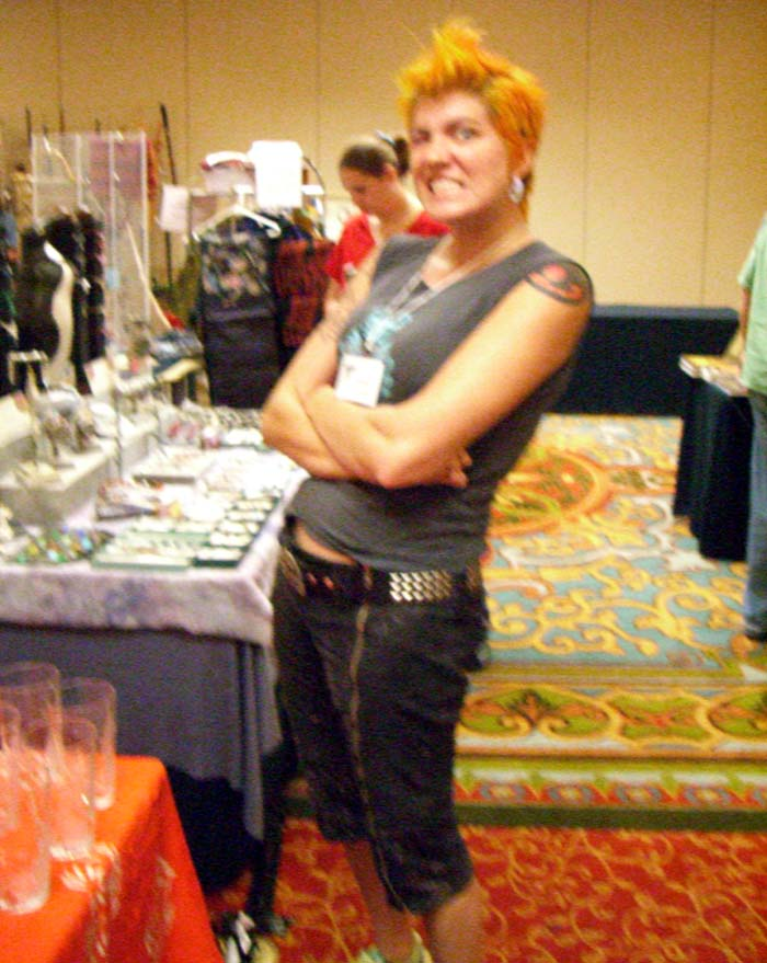 A con-goer with red spiky hair at the ArmadilloCon at the ArmadilloCon 2006