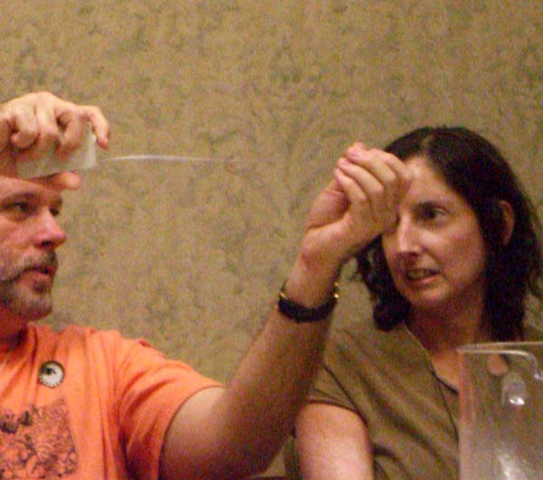 A measuring tape with a water bubble at Stump The Panel 2006
