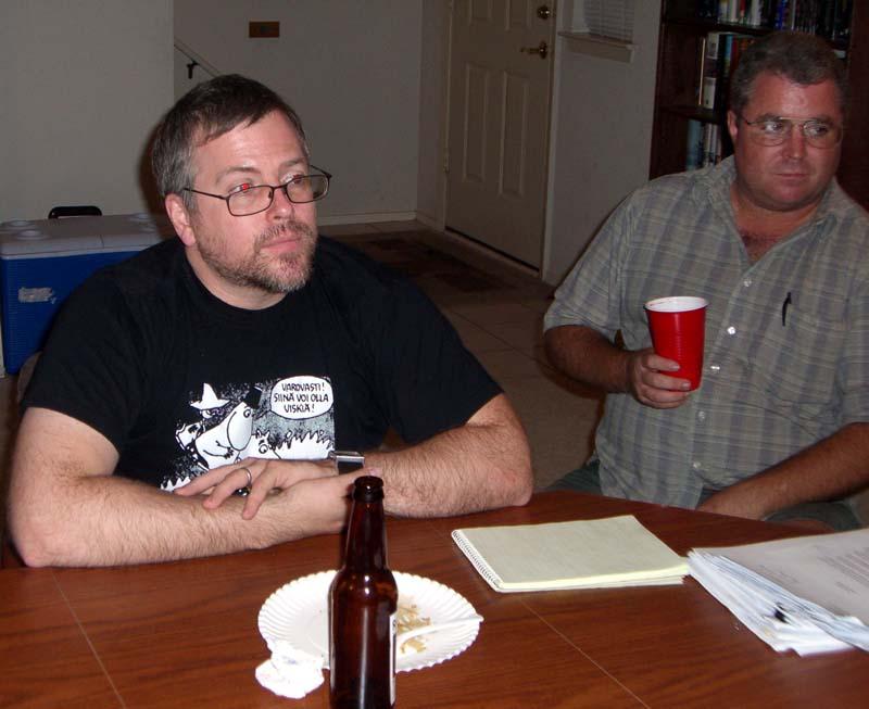 Jeff Vandermeer (left) and other Turkey City participants, September 2006